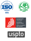 ISO and patent logos from the ceramics division
